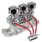 Three Chrome 9 Super 7® Carbs on Edelbrock 1108 Intake Kit, 1938-48 Ford V8