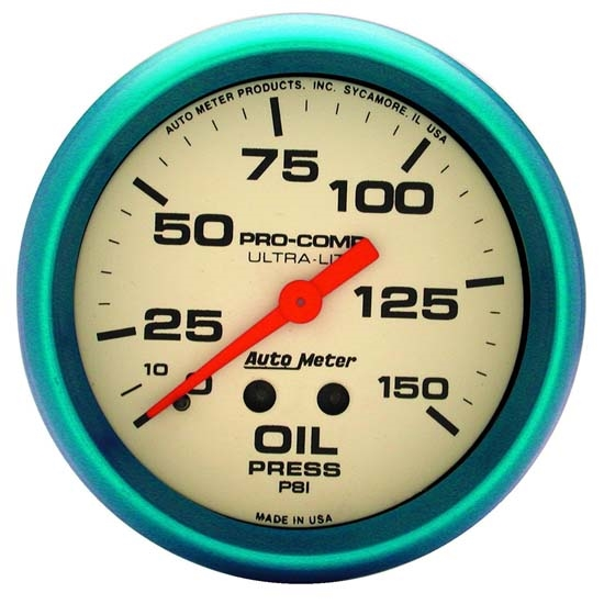 Auto Meter 4523 Ultra-Nite Mechanical Oil Pressure Gauge, 2-5/8 Inch