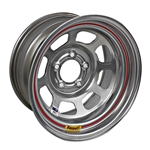 Bassett 58DJ3IS 15X8 D-Hole 5 on 5.5 3 In Backspace IMCA Silver Wheel