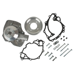 Snow White Small Block Ford Shorty Water Pump, 3-Groove Pulley