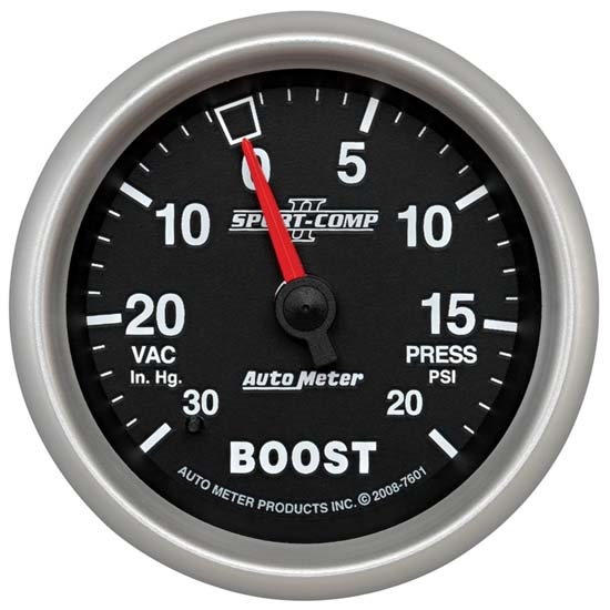 Auto Meter 7601 Sport-Comp II Mechanical Boost/Vacuum Gauge, 2-5/8