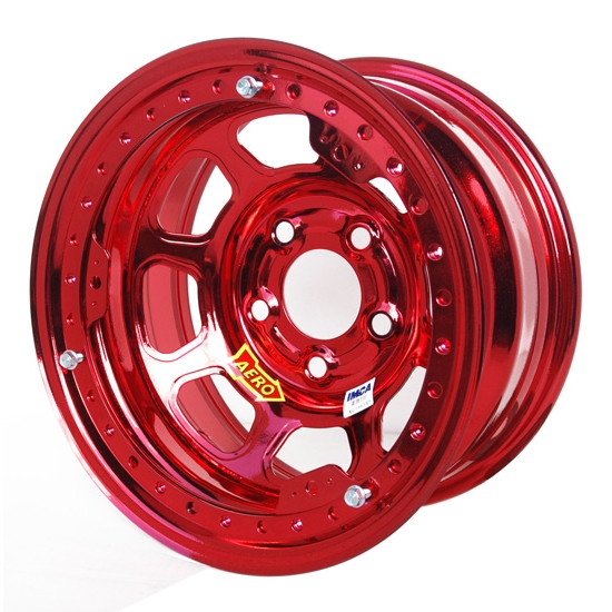 Aero 53-985010RED 53 Series 15x8 Wheel, BL, 5 on 5 BP, 1 Inch BS, IMCA