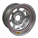 Bassett D-Hole IMCA Approved Wheel, Non-Beadlock, 15x8, 5 on 4-3/4, Silver