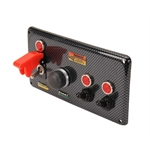 Longacre 44893 Carbon Fiber Starter Switch Panel w/ Cover & Switches