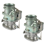Pair of 9 Super 7   Secondary 3-Bolt 2 Barrel Carburetors, Plain Finish
