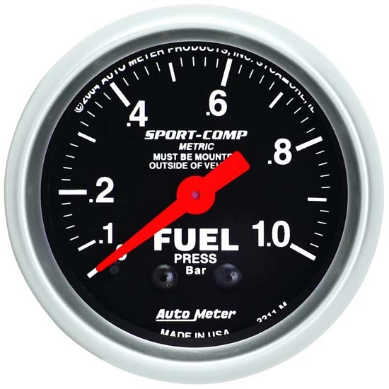 Auto Meter 3311-M Sport-Comp Mechanical Fuel Pressure Gauge