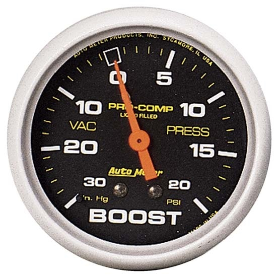 Auto Meter 5401 Pro-Comp Mechanical Boost/Vacuum Gauge, 2-5/8 Inch