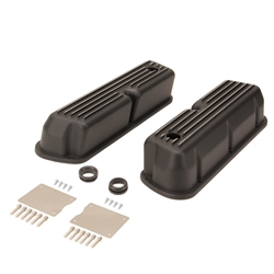 1962-1985 SBF 289-302-351W Tall Finned Valve Covers, Black Aluminum