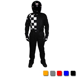 Finishline 2-Layer SFI-5 Fire Retardant Racing Suit, Black Large