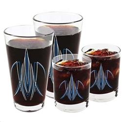 Pinstriped Pint & Rock Glass Set, Red