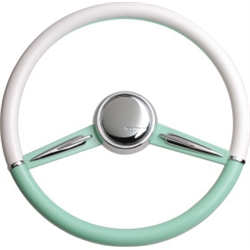 CON2R SW2SPOKE-GREEN Two-Tone Twin Spoke Steering Wheel, Green & White