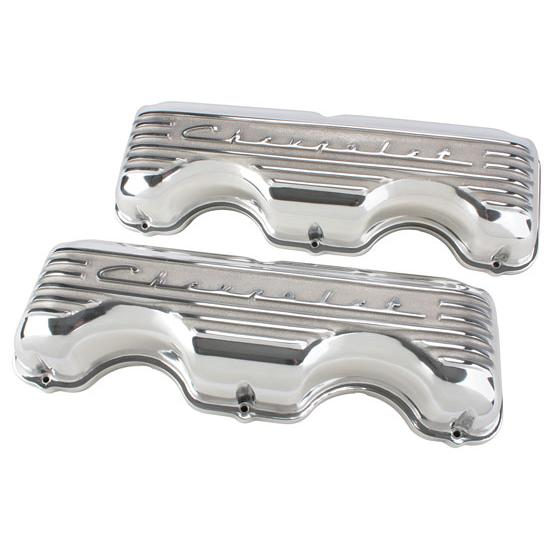 Chevy 348/409 Finned Aluminum Valve Covers, Polishd