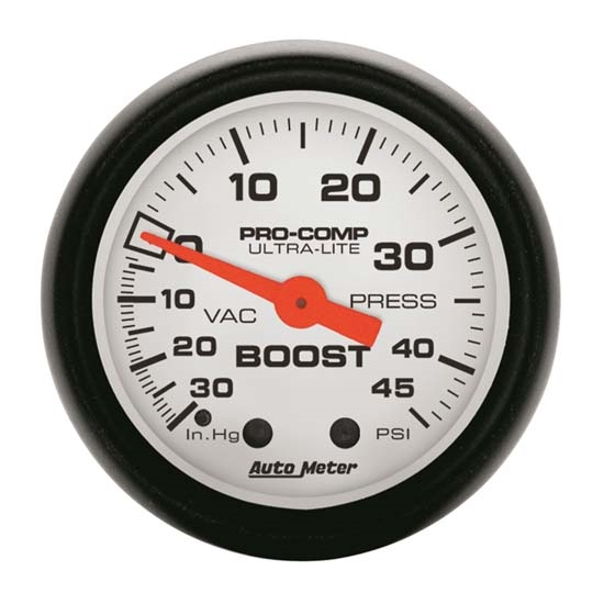 Auto Meter 5708 Phantom Mechanical Boost/Vacuum Gauge, 2-1/16 Inch