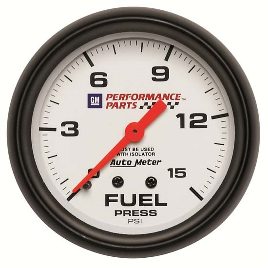 Auto Meter 5813-00407 GM White Mechanical Fuel Press Gauge w/Isolator