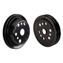 Lightweight 3-Groove Crank Pulley for Chevy Short Water Pump, Black