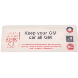 Jim Osborn DC0804 350 4-Bbl. Keep Your GM Car All GM Air Cleaner Decal