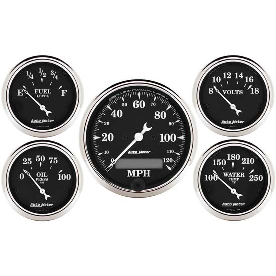 Auto Meter 1709 Old Tyme Black 5 Piece Gauge Set, Electric Speedometer