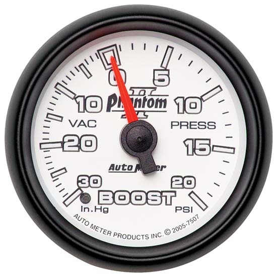 Auto Meter 7507 Phantom II Mechanical Boost/Vacuum Gauge, 2-1/16 Inch
