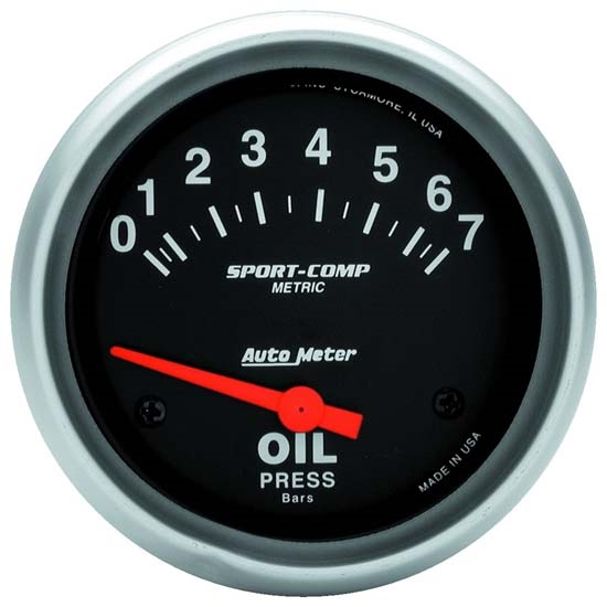 Auto Meter 3522-M Sport-Comp Air-Core Oil Pressure Gauge, 2-5/8 Inch