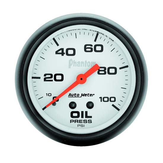 Auto Meter 5821 Phantom Mechanical Oil Pressure Gauge, 100 PSI, 2-5/8