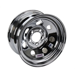 Speedway IMCA Approved Chrome Wheel, 15x8, 5 on 4-1/2 Inch, Non Beadlock