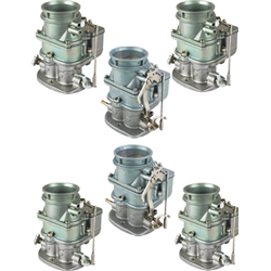 Set of 6 9 Super 7 3-Bolt 2-Barrel Carburetors, Plain Finish