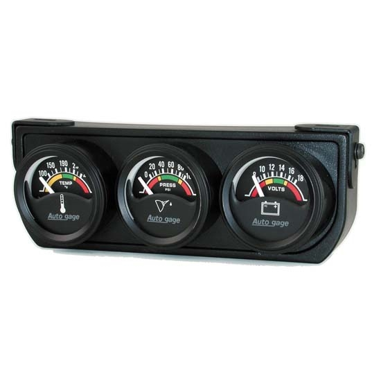 Auto Meter 2391 Auto Gage 3 Gauge Console, Oil/Volt/Water