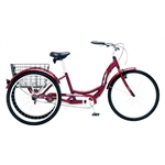 Schwinn Adult Meridian Cruiser Bike, 26 Inch Trike, 1 Speed, Dark Cherry Red