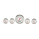Omega Kustom 912053 3-3/8 White 5-Gauge Set, Electric Speedometer