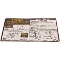 Jim Osborn DC0639 Jacking Instructions Decal for 1974 Nova Hatchback