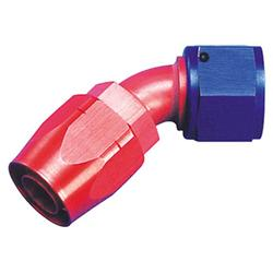 Full Flow Hose End Coupler Fitting, 45 Degree Angle, Red/Blue, -4 AN