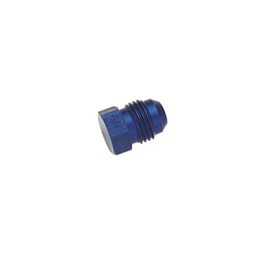 Aluminum Flare Fitting Plug, Blue, -8 AN