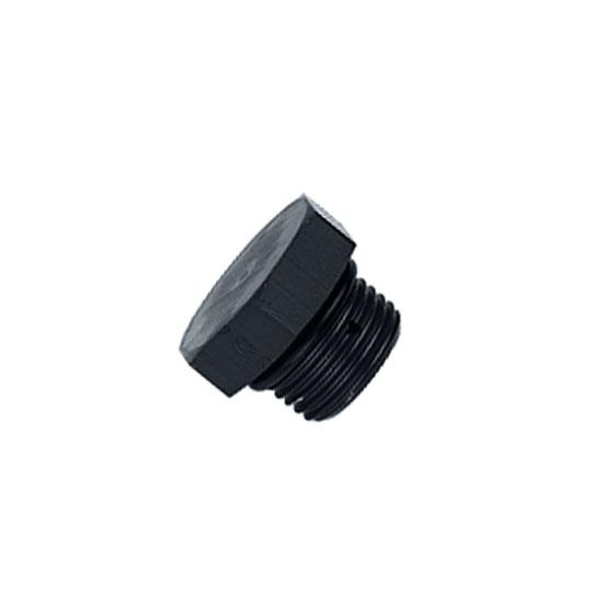 Aluminum Straight Thread Fitting Plug, Black, -4 AN