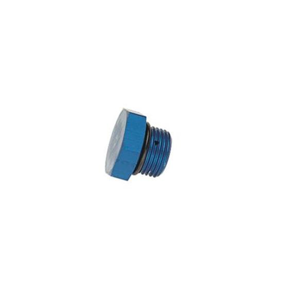 Aluminum Straight Thread Fitting Plug, Blue, -8 AN