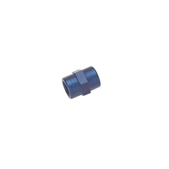 Aluminum Female Pipe Coupler Fitting, 1/8 Inch NPT, Blue Anodized