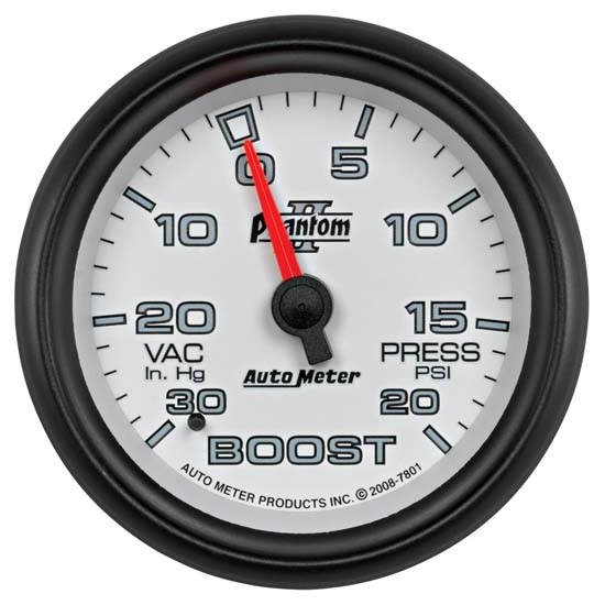 Auto Meter 7801 Phantom II Mechanical Boost/Vacuum Gauge, 2-5/8 Inch