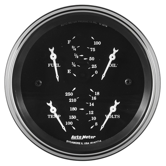 "Auto Meter 1713 Old Tyme Black, 3-3/8"" Quad Gauge"