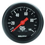 Auto Meter 2604 Z-Series Mechanical Oil Pressure Gauge, 100PSI, 2-1/16