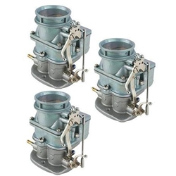Set of 3 9 Super 7 3-Bolt 2-Barrel Carburetors, Plain Finish