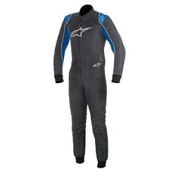 Garage Sale - Alpinestars KMX-9 Adult Kart Racing Suit, Anthracite/Blue/White Trim, Medium