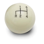 Lokar SK-6890 4-Speed Ivory 2 Inch Shift Knob, 3/8-24, 3/8-16 Thread