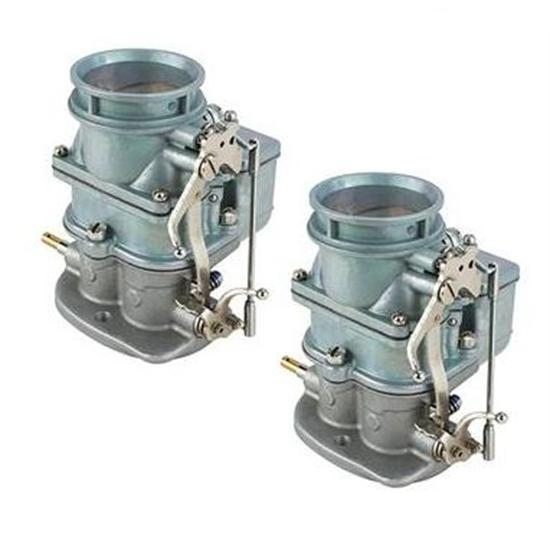 Pair of Primary 9 Super 7 3-Bolt 2-Barrel Carburetors, Plain Finish