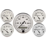 Auto Meter 1602 Old-Tyme White 5 Piece Gauge Set, Electric Speedometer