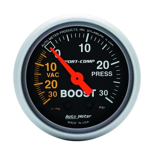 Auto Meter 3303 Sport-Comp Mechanical Boost/Vacuum Gauge, 2-1/16 Inch