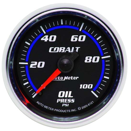 Auto Meter 6121 Cobalt Mechanical Oil Pressure Gauge, 2-1/16 Inch