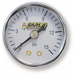 Earls 100195ERL Fuel Pressure Gauge, 1.5 Inch Diameter