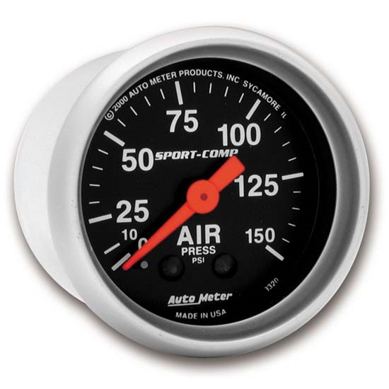 Auto Meter 3320 Sport-Comp Mechanical Air Pressure Gauge, 2-1/16 Inch