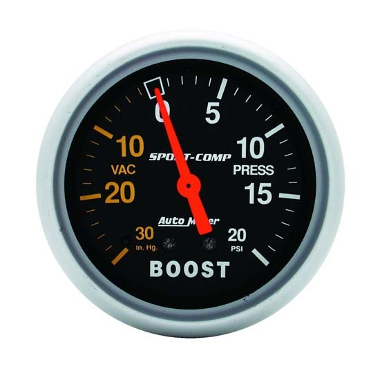 Auto Meter 3401 Sport-Comp Mechanical Boost/Vacuum Gauge, 2-5/8 Inch