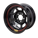 Bassett 58S45 15X8 D-Hole Lite 4 on 4 5 Inch Backspace Black Wheel