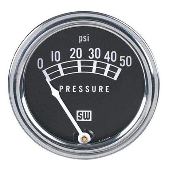 Stewart Warner 82207 Std 2-1/16 In. Oil Pressure Gauge, Mech, 0-50 PSI